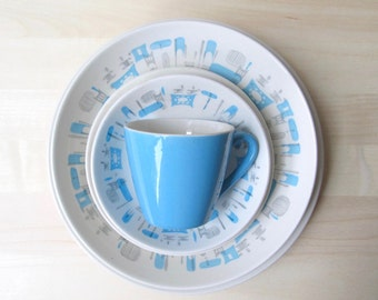 Blue Heaven Royal China mod midcentury dishes dinner plates bread plates vegetable bowl cup saucer