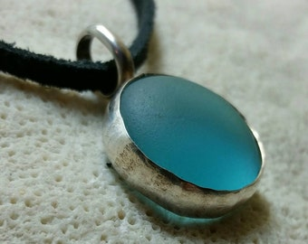 Silver and Aqua Sea Glass Necklace on Black Suede Cord - Handmade