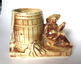 McCoy Pottery Banjo Player with Barrel of Bananas Planter or Vase