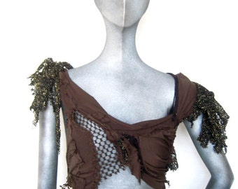 beautiful decay,innocence lost, tattered trans humanism,shredded, deconstructed top, wasteland halter by Renegade Icon designs