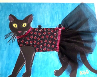 "18"" x 24"" Original Acrylic Tutu Cat Painting 