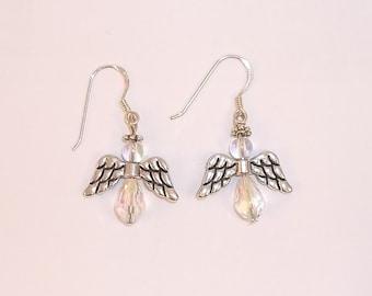Crystal and Silver Angel Earrings - 1400