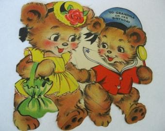 Vintage Used Birthday Card For Grandma With Cute Bears In Clothing, Hallmark, 1945