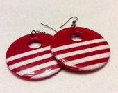 Vintage 1960's red white stripes large acrylic hoop earrings.