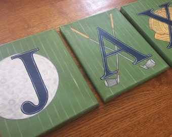 """8"""" x 10"""" Golf themed Custom Personalized Name Wall Letters Sports Golf Clubs Tee Hat Canvas Art Boys Bedding Room Decor (price per letter)"""