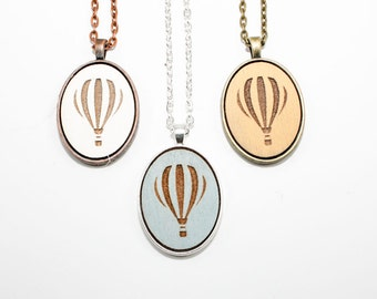 Hot Air Balloon Pendant - Laser Engraved Wooden Cameo Necklace (Any Color - Custom Made) - Gifts for Her