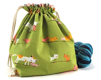 Knitting Crochet Project Bag *with yarn guide* - Heather Ross Tiger Lily