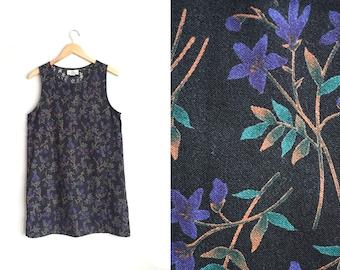 SALE // Size M // FLORAL JUMPER // Shift - Black Tank Dress - Sleeveless Pinafore - Vintage '90s.