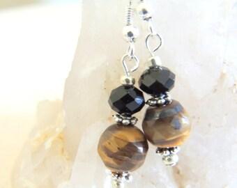 Tigers Eye Earrings, Dangle Earrings, Sterling Silver Jewelry, Handcrafted Jewelry, Gemstone Jewelry