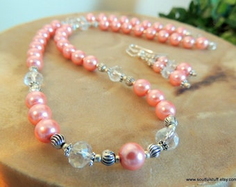 Pearl Jewelry Gift Set, Coral Pearl Necklace, Handcrafted Jewelry, Pearl Gift Set, Mother's Day, Gift for Her, Coral and Silver