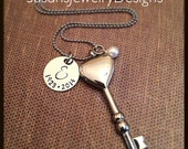 Key Urn Necklace - stainless steel 1 sided disc & key cremation urn and chain - Swarovski crystal - custom wording available