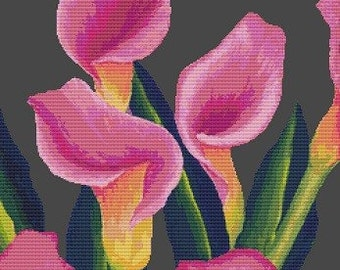 Modern Art Cross Stitch Kit By Tanya Bond 'Lilies'- Counted CrossStitch - Pink Flowers
