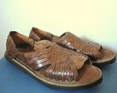 Vintage 70s Deadstock Brown Leather Huarache Woven Sandals Mens Size 6 / Women's Size 7/5