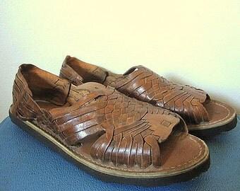 Vintage 70s Deadstock Brown Leather Huarache Woven Sandals Mens Size 6 / Women's Size 7/5