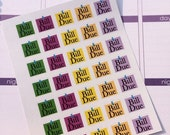Huge Sale 35 Small Bill Due Stickers Plum Paper Stickers Planner Stickers