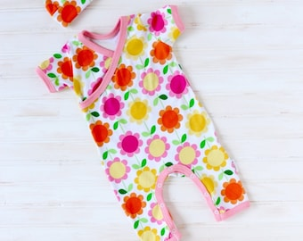 Baby Girl Kimono Romper - Girl Going Home Outfit - Newborn Romper - Layette - Zaaberry - newborn - 0-3 months - 3-6 months- MADE TO ORDER
