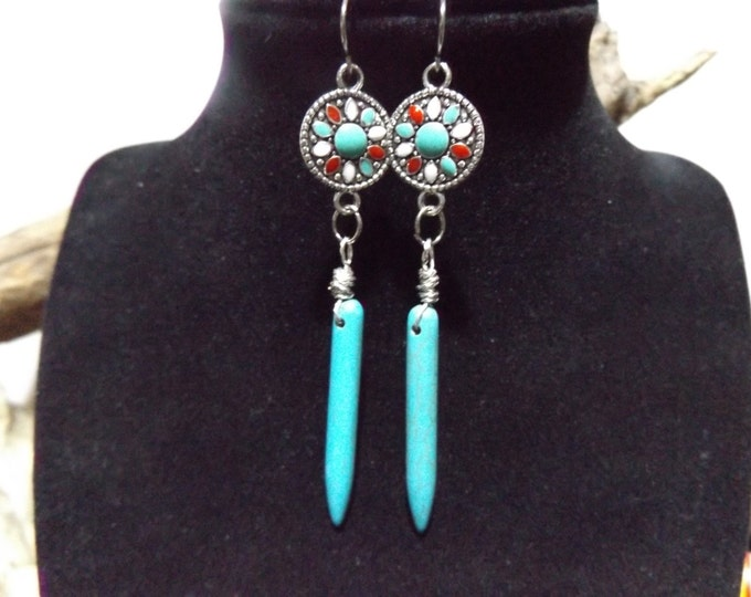 Turquoise Pendulum Spike Earrings, Healing Stone Jewelry, Gift of Love, Light, Peace and Healing, Spiritual Healing Earrings
