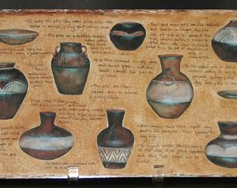 Place Mat Set African Painted Zulu Clay Beer Pots Wood Cork