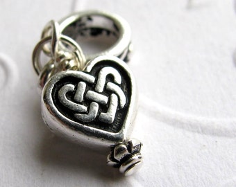 Celtic heart charm, big hole charm, TierraCast antiqued silver pewter, lead free, Irish eternal knot druid spiritualiity, love charm