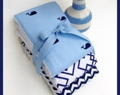 New Navy Blue Baby Burp Cloths Fast Shipping Best Baby Ocean Gift Set Whale Sale
