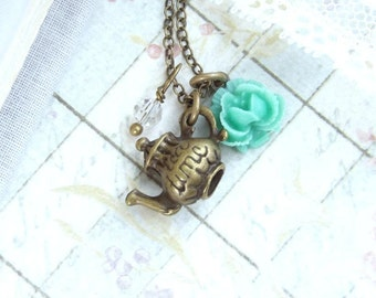 Tea Pot Necklace Tea Party Necklace Teapot Necklace Tea Lover Tea Necklace Teapot Charm Necklace