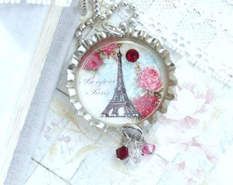 Eiffel Tower Necklace Paris Necklace French Necklace Bottle Cap Necklace Paris Gift Eiffel Tower Jewelry