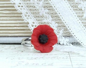 Red Poppy Ring Red Floral Ring Woodland Ring Red Flower Ring Poppy Jewelry Red Ring Statement Ring