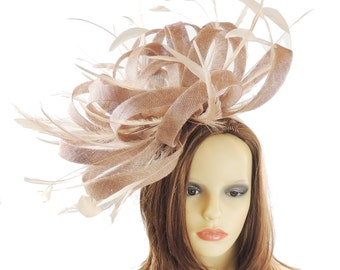 Ostrich - Mink Beige Fascinator Hat  for Weddings, Occasions and Parties on a Headband - Available in 40 Colours