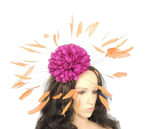 Plum/Orange Margeaux Fascinator Hat for Weddings, Races, and Special Events With Headband