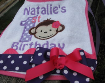 mod monkey birthday bibs, 1st birthday bib, mod monkey, 2nd birthday bib, mod monkey birthday, birthday bib