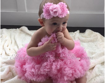 Baby girl Pink Pettiskirt and matching shabby headband... Newborn Petti skirt ..Great fo