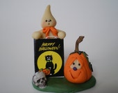 "Halloween Scene - ""Happy Halloween"" Polymer Clay Glow in the Dark Ghose and pumpkin"