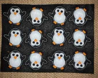 Penguin Dancing Embroidered Feltie Sheet