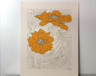 Poppy 8x10 Print with Gold and Brown Outline Floral Design on Natural Cream Paper