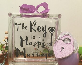 "Guest Book Alternative - Glass Block with ""The Key to a Happy Marriage"" - May Be Personalized for Free - Paper Locks in Coordinating Colors"