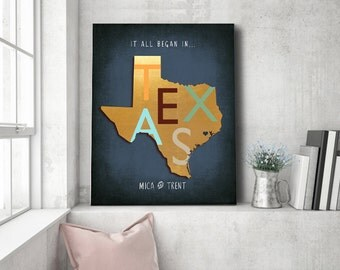 Texas Map Home Town sign Destination Wedding Gift Gift for Him Birthday Gift For husband Gift for Newlyweds Personalized Texas Art Map Print