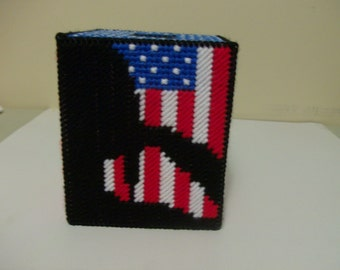 Patriotic Tissue Box Cover, Support Our United States Soldiers Tissue Box Cover