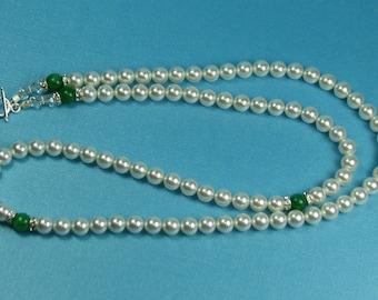 Pearl Necklace Pearls Swarovski Long Jewelry Gemstone Green Ivory Beads Pearls Womens Wedding