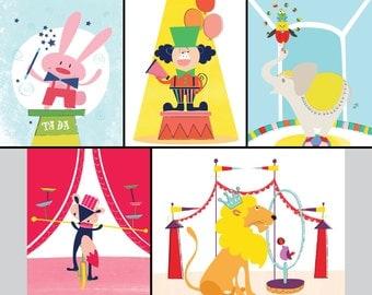 Set of 5 - Nursery art print - Circus Nursery Decor - circus poster - Baby decor - Children Art Print - lion, bunny, elephant, fox, monkey