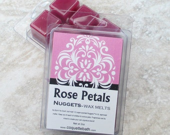 Rose Petals scented wax melts, strong fragrance, rose scent, no burn home scent, spring floral