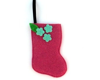 Rescued Wool Stocking Ornament - Gift Card Holder for Her - Recycled Christmas Ornament - Mini Stocking