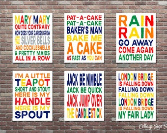 Nursery Rhymes, Nursery Songs,SET, Childrens Nursery Rhymes, INSTANT DOWNLOAD, Classic Nursery Rhymes, Playroom Wall Art, Classroom Wall Art