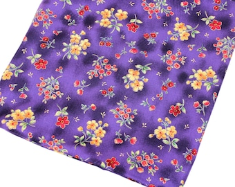 2 yards Maywood Evergreen Cotton Fabric, Small Flowers on Purple, out of print, Quiltsy Destash, yardage, by the yard
