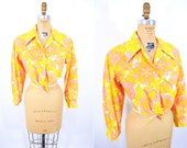 "1970s blouse vintage 70s hippie flower print long sleeve crop top M/L W 37"""