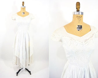 """1950s dress vintage 50s white eyelet whimsical pink blue party dress S W 26"""""""