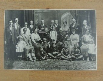 A Very Large Family Photo |  Original Vintage Black & White Photograph Early 1900s