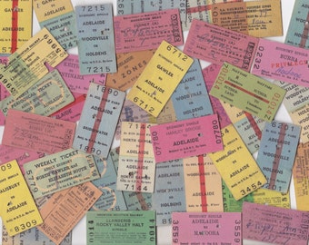 10 x Vintage Australian Train Rail Tickets for Crafting or Collecting | Colourful Ticket Ephemera | Adelaide Australia