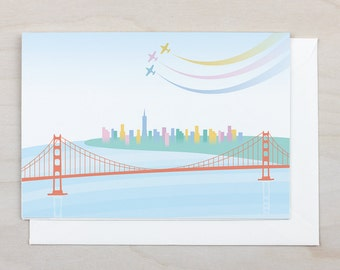 Downtown from the Golden Gate Card - San Francisco, California, Anniversary, Blank, Gift, Holiday, Golden Gate Bridge