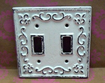 Fleur de lis Cast Iron FDL Light Switch Plate Cover Double Wall Shabby Style Chic Distressed Rustic French Decor White White