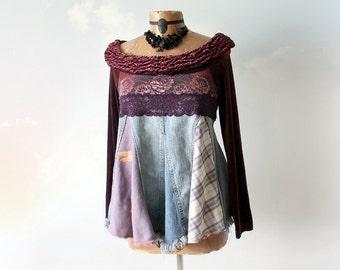 Off Shoulder Babydoll Shirt Shabby Denim Top Boho Clothing Women Trapeze Top Bohemian Tunic Music Festival Clothes Patchwork Shirt S M 'TORI